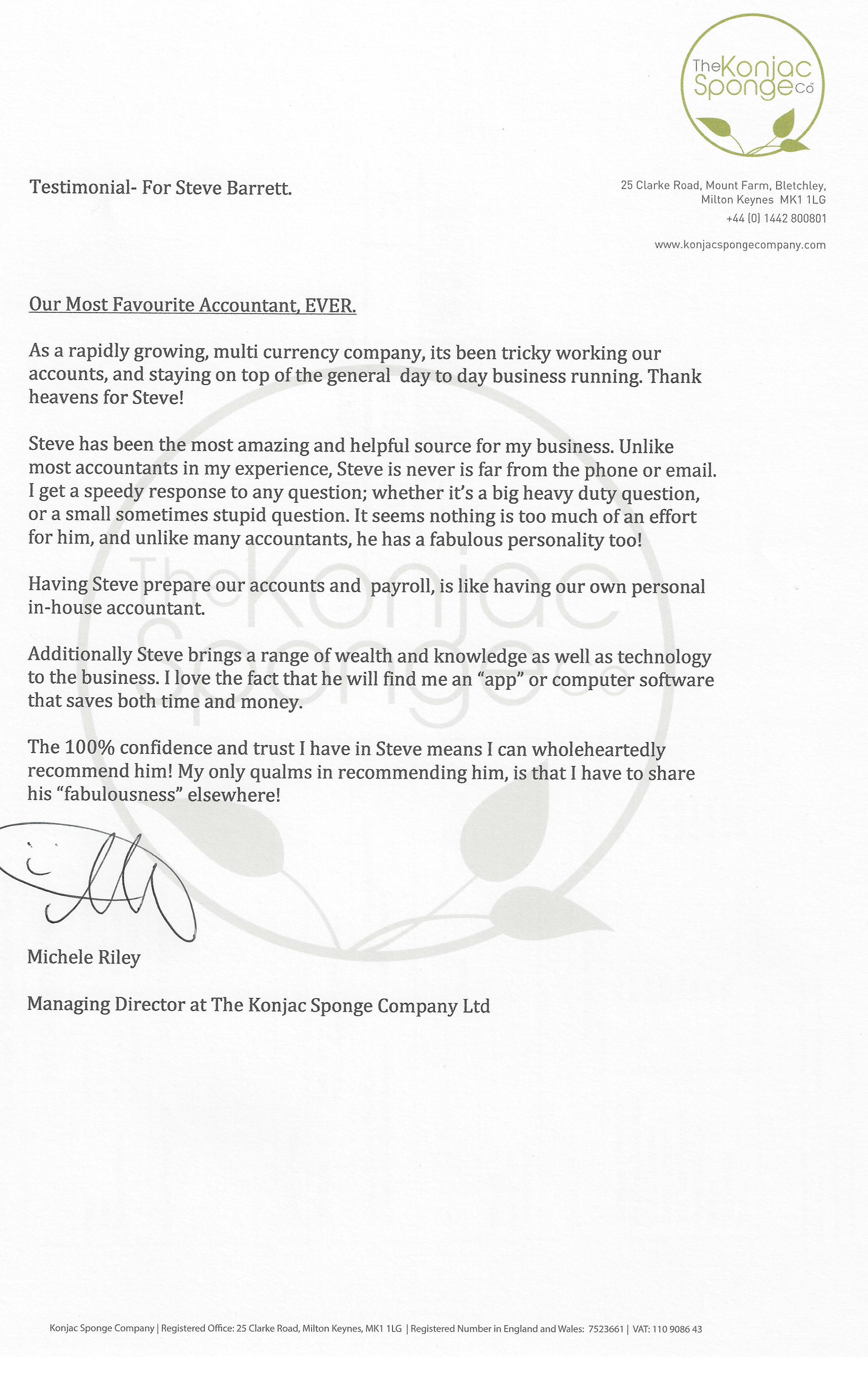 Testimonial for SBA accountants of Leighton Buzzard from The Konjac Sponge Company
